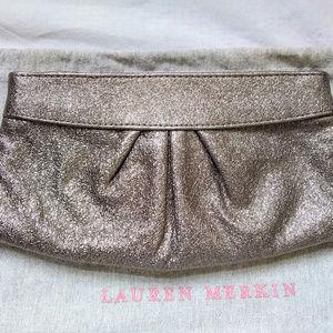 Lauren Merkin Shimmery Silver Leather Clutch EUC